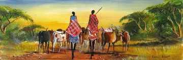 Herding on the Road from Africa Oil Paintings